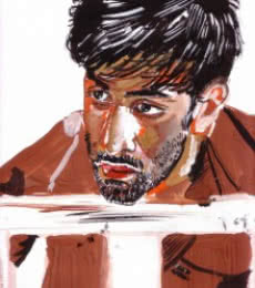Portrait Watercolor Art Painting title 'Intrigued and inspired' by artist Saurabh Turakhia