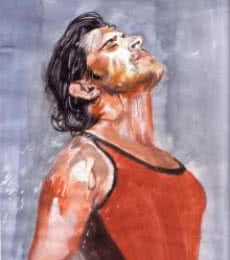 Portrait Watercolor Art Painting title 'Bathed in passion spirit is undying!' by artist Saurabh Turakhia