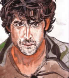 Portrait Watercolor Art Painting title 'Thehrithikroshanstyle Copy' by artist Saurabh Turakhia