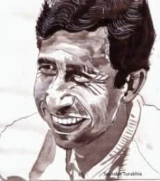 Photorealistic Watercolor Art Painting title Naseeruddin Shah smiling from ear to ear by artist Saurabh Turakhia