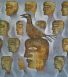 Figurative Oil Art Painting title 'Fog And The Bird' by artist Ranjith Raghupathy