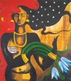 Figurative Oil Art Painting title 'Solitude' by artist Ranjith Raghupathy