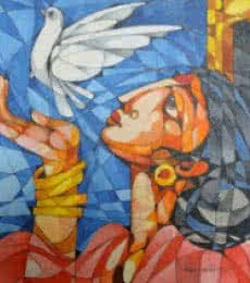 Figurative Acrylic Art Painting title Woman With a Bird by artist Pradip Goswami