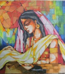 Figurative Acrylic Art Painting title Indian Woman by artist Pradip Goswami