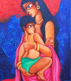Pradip Goswami | Acrylic Painting title Unconditional Love on Canvas | Artist Pradip Goswami Gallery | ArtZolo.com