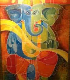 Figurative Acrylic Art Painting title 'Ganesha I' by artist Pradip Goswami