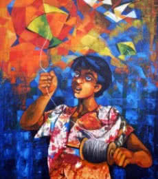 Born To Play | Painting by artist Pradip Goswami | acrylic | Canvas