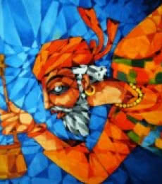 Figurative Acrylic Art Painting title 'Fakir' by artist Pradip Goswami