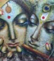 Religious Acrylic Art Painting title 'Radha Krishna' by artist Madhumita Bhattacharya