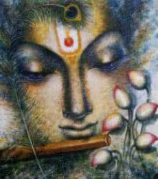 Krishna Playing Flute I | Painting by artist Madhumita Bhattacharya | acrylic | Canvas