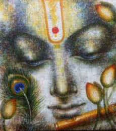 Krishna Playing Flute II | Painting by artist Madhumita Bhattacharya | acrylic | Canvas