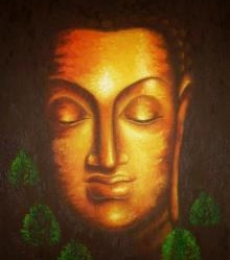 Portrait Oil Art Painting title 'Divine Buddha' by artist Madhumita Bhattacharya