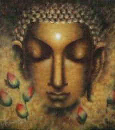 Religious Acrylic Art Painting title Meditating Buddha II by artist Madhumita Bhattacharya