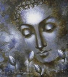 Portrait Acrylic Art Painting title 'Buddha The Divine Soul' by artist Madhumita Bhattacharya