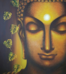 Religious Oil Art Painting title Buddham Sharanam by artist Madhumita Bhattacharya