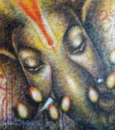 Religious Acrylic Art Painting title 'Shri Ganesh' by artist Madhumita Bhattacharya