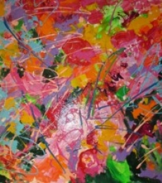 Abstract Acrylic Art Painting title 'constant search for balance' by artist Romaine Kaufman