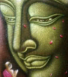 Ramesh | Acrylic Painting title Lord buddha painting on Canvas Board | Artist Ramesh Gallery | ArtZolo.com