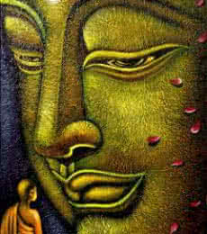 Religious Oil Art Painting title Buddha and Devotee by artist Ramesh Patel