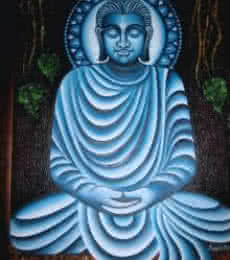 Religious Oil Art Painting title 'Meditating Buddha' by artist Ramesh Patel