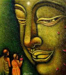 Ramesh | Acrylic Painting title Lord buddha 7 painting on Canvas Board | Artist Ramesh Gallery | ArtZolo.com