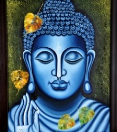 Figurative Oil Art Painting title 'Lord buddha Painting Figurative Ind' by artist Ramesh