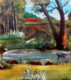 Landscape Acrylic Art Painting title 'Along The Pond' by artist Rinki Prayagi