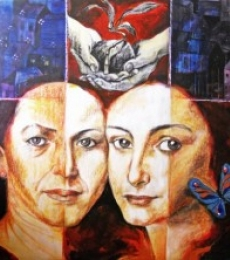 Sisters and the city | Pastel by artist Partho Sengupta | on PVC Board