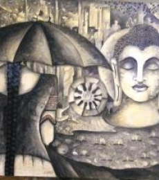 Girls at Buddha | Painting by artist Kappari Kishan | acrylic | Canvas