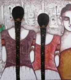 Kappari Kishan | Acrylic Painting title Buddha on Canvas | Artist Kappari Kishan Gallery | ArtZolo.com