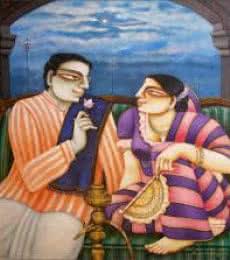 Figurative Acrylic Art Painting title 'Babu Bibi' by artist Gautam Mukherjee