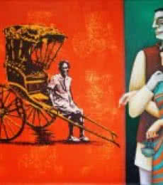 Rickshaw | Painting by artist Gautam Mukherjee | acrylic | Canvas