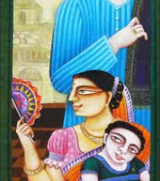 Figurative Acrylic Art Painting title 'SOLD' by artist Gautam Mukherjee
