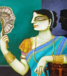 Gautam Mukherjee | Acrylic Painting title Charulata I on Canvas | Artist Gautam Mukherjee Gallery | ArtZolo.com