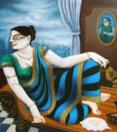 Figurative Acrylic Art Painting title 'Charulata' by artist Gautam Mukherjee