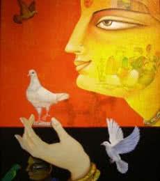 Charulata II | Painting by artist Gautam Mukherjii | acrylic | Canvas