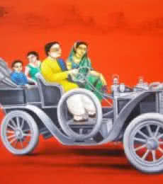 Figurative Acrylic Art Painting title '1920 Vintage Car' by artist Gautam Mukherjee
