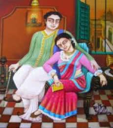 Figurative Acrylic Art Painting title Nostalgia by artist Gautam Mukherjee