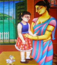Figurative Acrylic Art Painting title 'Mother and Daughter' by artist Gautam Mukherjee