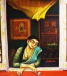Figurative Acrylic Art Painting title Window by artist Gautam Mukherjee