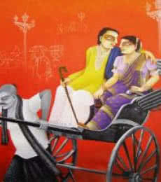 Figurative Mixed-media Art Painting title 'SOLD' by artist Gautam Mukherjee