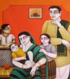 My Family | Painting by artist Gautam Mukherjii | oil | Canvas