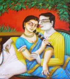 Figurative Acrylic Art Painting title 'Babu and Bibi II' by artist Gautam Mukherjee