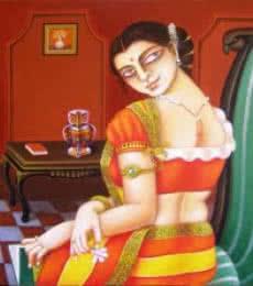 Gautam Mukherjee | Acrylic Painting title Charulata III on Canvas | Artist Gautam Mukherjee Gallery | ArtZolo.com