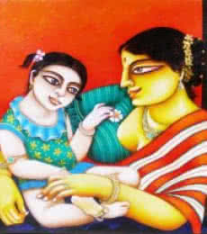 Mother and Child | Painting by artist Gautam Mukherjee | acrylic | Canvas