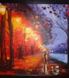 Expressionist Acrylic Art Painting title 'Rainy night' by artist Shikha Poddar