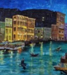 Cityscape Acrylic Art Painting title 'Venice 1' by artist Shikha Poddar