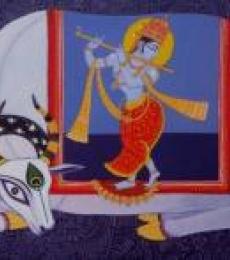 Religious Acrylic Art Painting title 'Kamdhenu 5' by artist Bhaskar Lahiri