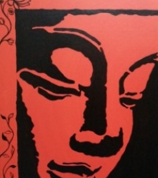 Abstract Acrylic Art Painting title 'Buddha 02' by artist Gayathri Nair
