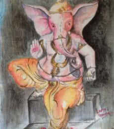 Religious Watercolor Art Painting title Ganesha by artist Lasya Upadhyaya
